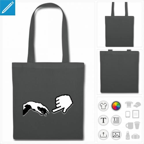 tote bag gris pixel art à imprimer en ligne