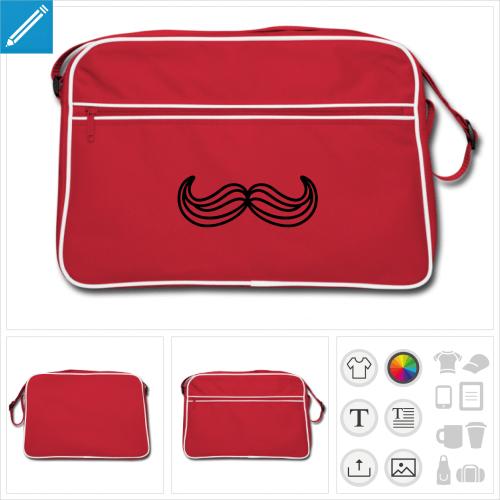 sac vintage moustache humour à imprimer en ligne