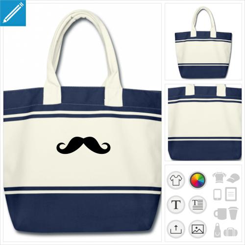 cabas moustache drôle à imprimer en ligne