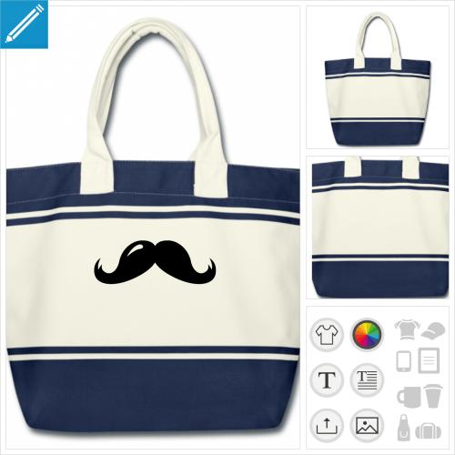 sac moustache reflet à imprimer en ligne