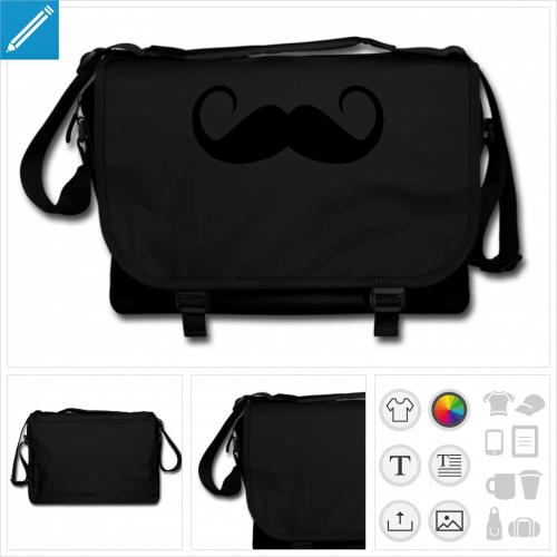 sac à bandoulière moustache rigolote personnalisable, impression à l'unité