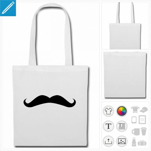sac tissu moustache à personnaliser et imprimer en ligne