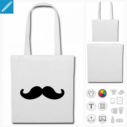 sac de courses moustache à créer en ligne