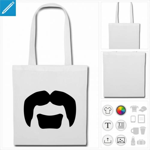 tote bag rouge moustache hipster à imprimer en ligne