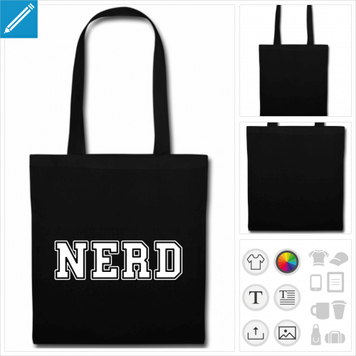 tote bag nerd à personnaliser et imprimer en ligne