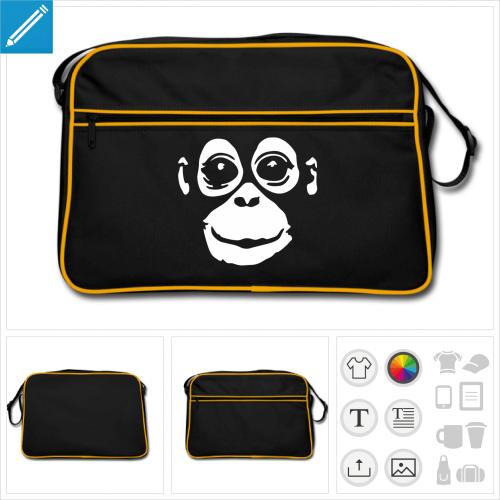 sac bandoulière noir Orang-outan à créer soi-même