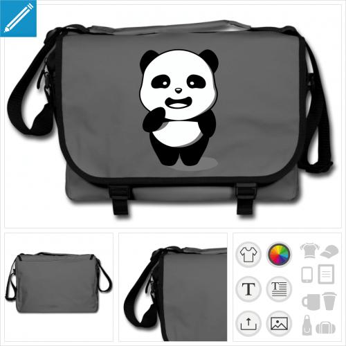 sac à bandoulière panda à personnaliser, impression unique