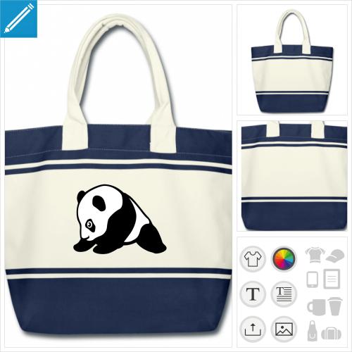 sac panda personnalisable, impression à l'unité