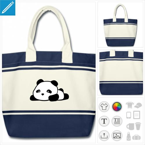 cabas blanc et bleu panda kawaii à créer soi-même