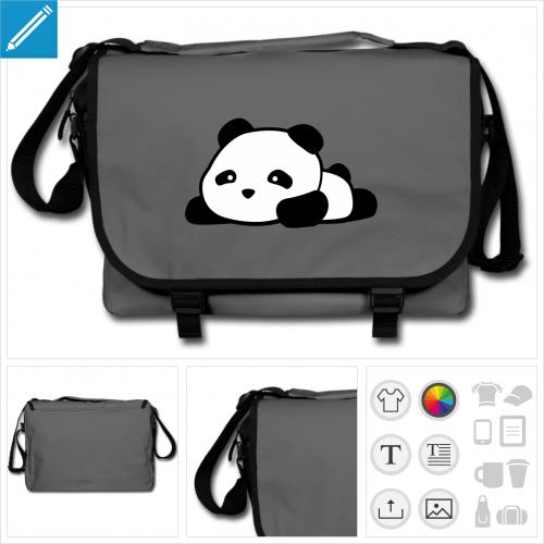 sac de cours panda kawaii rigolo personnalisable
