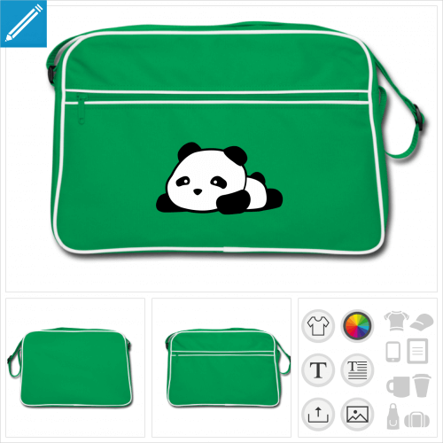 sac vintage panda kawaii rigolo à personnaliser et imprimer en ligne