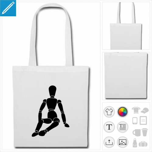 tote bag bonhomme à personnaliser, impression unique