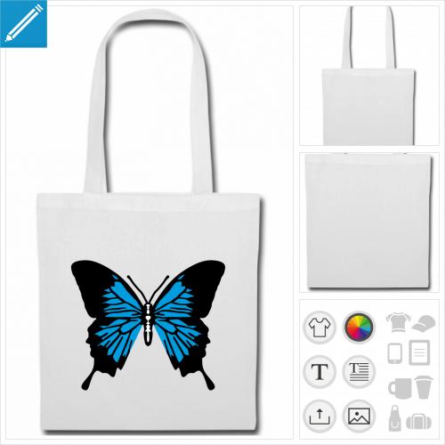 sac de courses ailes de papillon à imprimer en ligne
