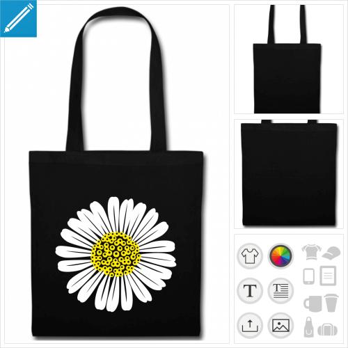 sac de courses fleur à personnaliser et imprimer en ligne