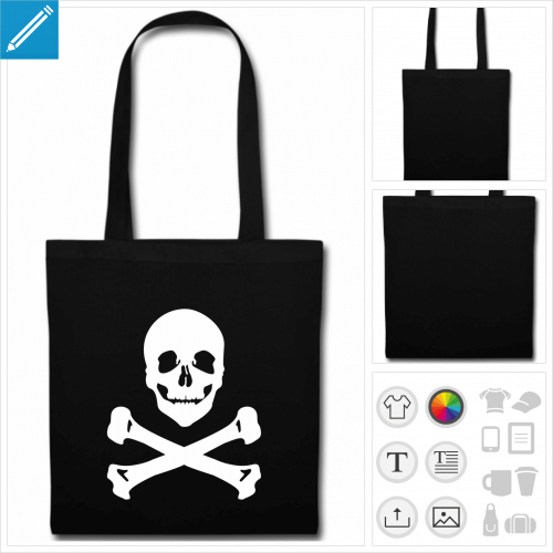 sac tissu noir drapeau pirate à personnaliser