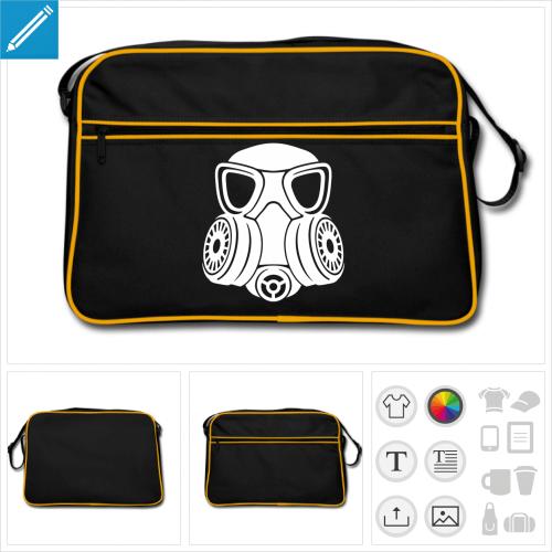 Sac retro noir aux arrêtes et bordures zip blanches, design masque à gaz stylisé une couleur