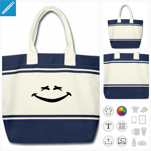 cabas blanc et bleu smiley rigolo à imprimer en ligne