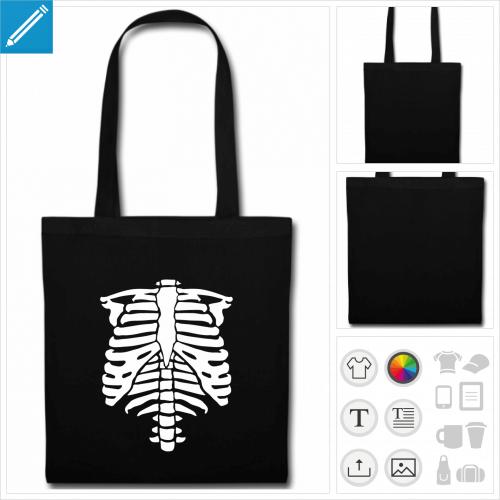 sac tote bag noir squelette côtes à créer soi-même