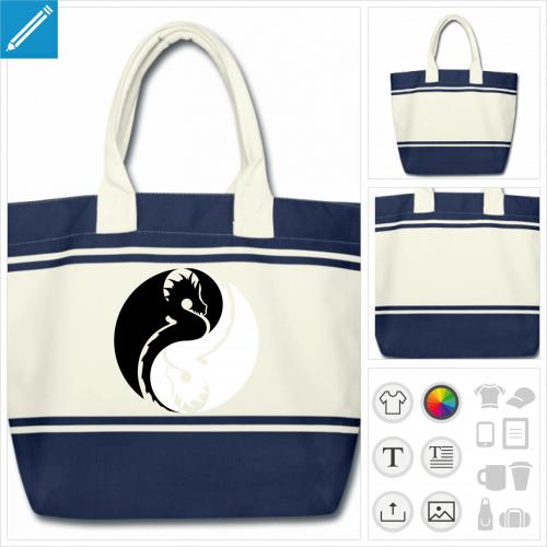 sac de courses dragon à personnaliser en ligne