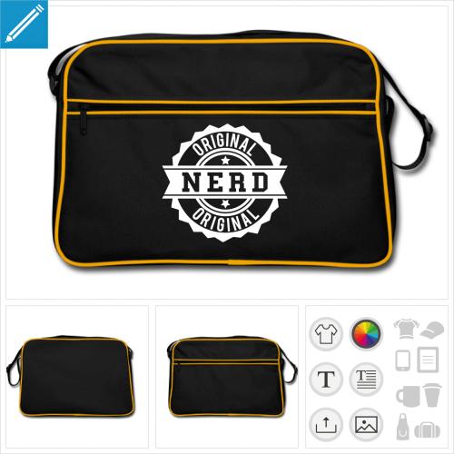 sac vintage tampon nerd personnalisable, impression à l'unité