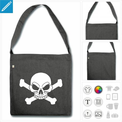 sac à bandoulière tête de mort à personnaliser et imprimer en ligne