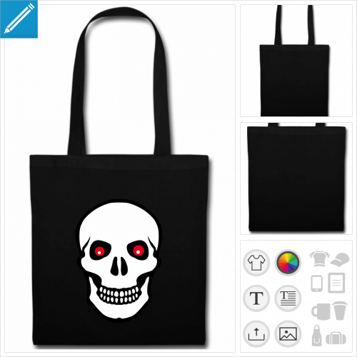 sac tote bag noir tête de mort à imprimer en ligne