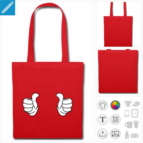 tote bag rouge pouces levés à créer soi-même