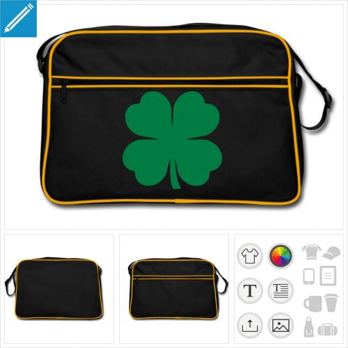 sac bandoulière noir trèfle irlandais à créer soi-même