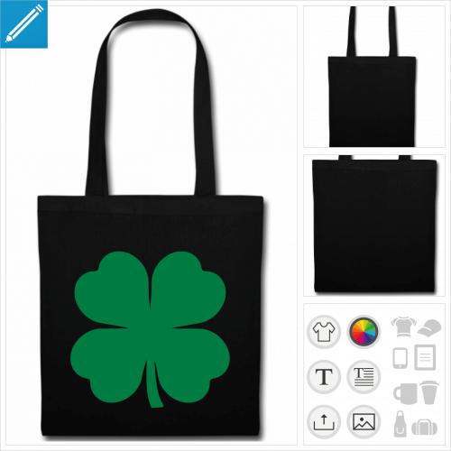 sac tote bag noir trèfle à quatre feuilles à personnaliser et imprimer en ligne