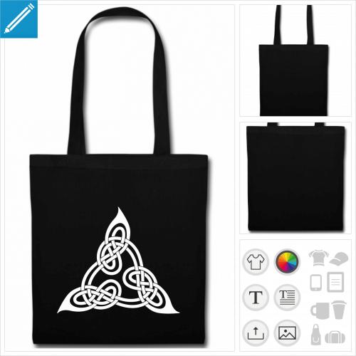 sac tote bag noir triangle celtique personnalisable, impression à l'unité