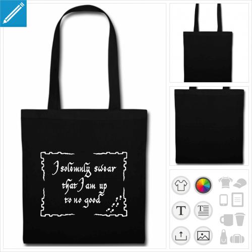 sac tissu noir up to no good à créer en ligne