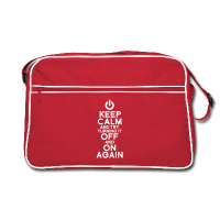 sac retro rouge à cutures blanches et bandoulière, motif keep calm nerd et blague turning it off and on again