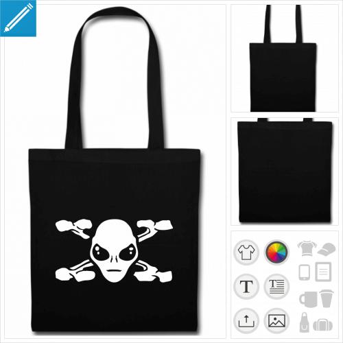 sac tote bag noir extraterrestre à personnaliser
