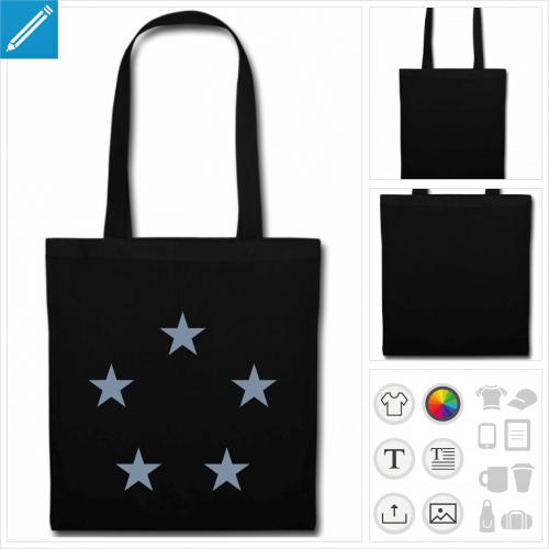sac tissu noir étoiles à personnaliser et imprimer en ligne
