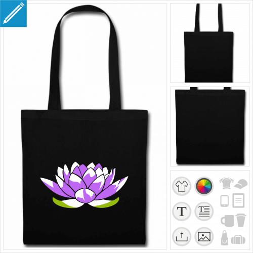 sac tote bag noir lotus à imprimer en ligne