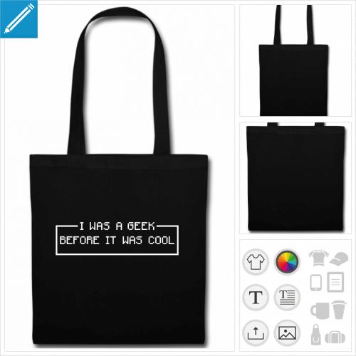 sac tote bag noir geek personnalisable, impression à l'unité