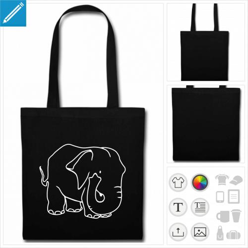 tote bag éléphants à personnaliser en ligne