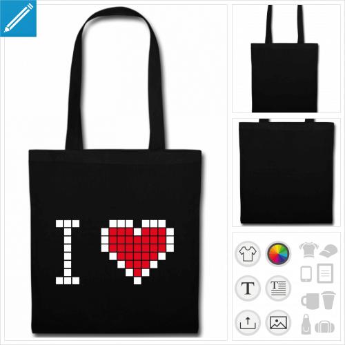 sac anses coeur pixels personnalisable, impression à l'unité
