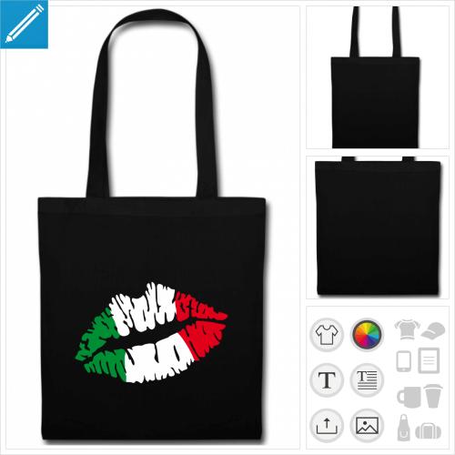 sac tote bag noir drapeau italien à créer soi-même