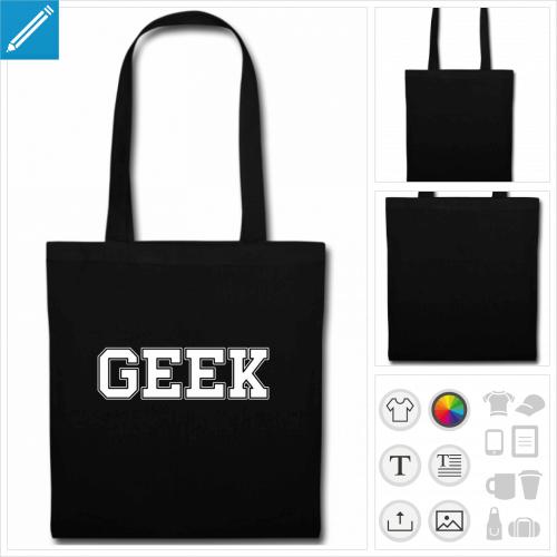 sac tote bag noir geeks à créer soi-même