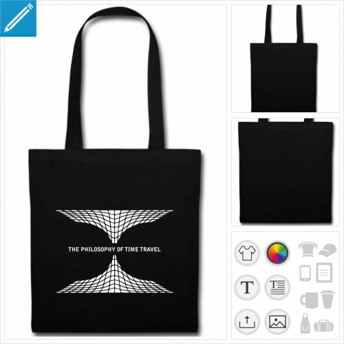 sac tissu noir philosophy time travel personnalisable, impression à l'unité