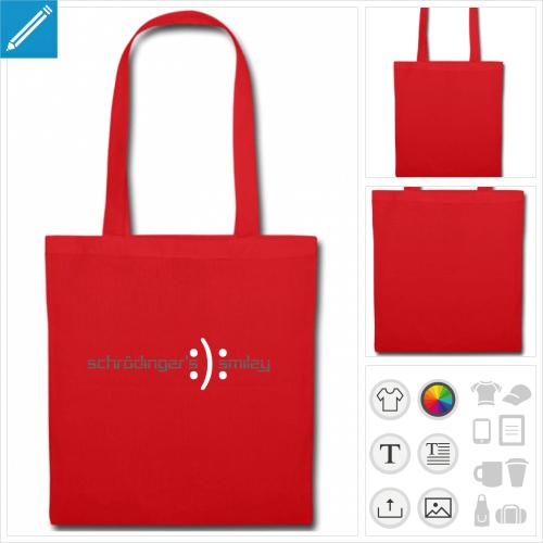 sac tote bag noir smiley schrödinger à imprimer en ligne
