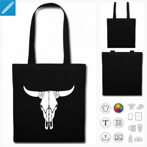 tote bag crâne de vache à imprimer en ligne