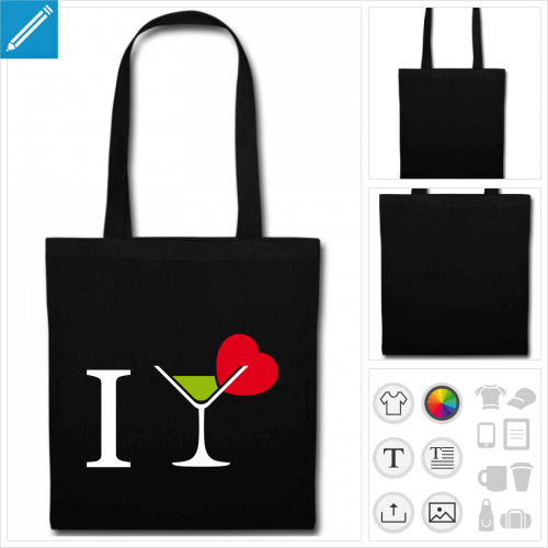 tote bag cocktail à personnaliser, impression unique