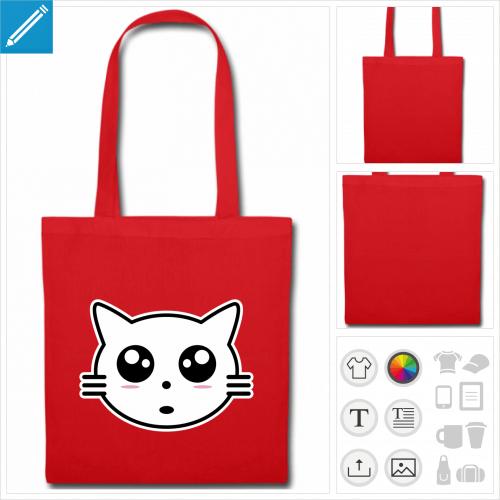 tote bag rouge tête de chat à personnaliser et imprimer en ligne
