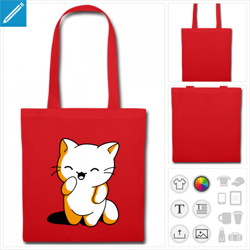 tote bag chaton kawaii personnalisable, impression à l'unité