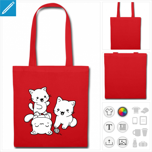 tote bag chatons kawaii à imprimer en ligne