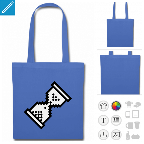 tote bag bleu cursor à personnaliser, impression unique
