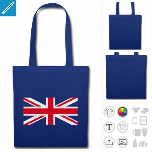 tote bag bleu drapeau anglais à personnaliser en ligne