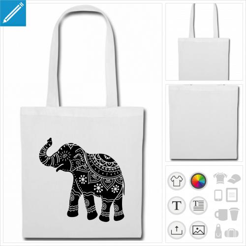 sac tissu anses éléphant décoré à imprimer en ligne